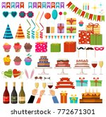 set of happy birthday party... | Shutterstock .eps vector #772671301