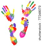 two colored handprint and two... | Shutterstock . vector #77268073