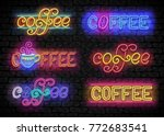 set of coffee house vintage... | Shutterstock .eps vector #772683541