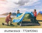 asian camp forest adventure... | Shutterstock . vector #772692061
