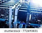 bitcoin mining farm.... | Shutterstock . vector #772693831