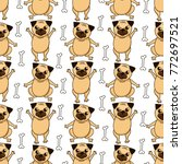 vector background with funny... | Shutterstock .eps vector #772697521