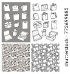 four hand drawn package set.... | Shutterstock .eps vector #772699885