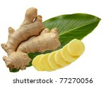 Ginger root and leaf isolated on white - stock photo
