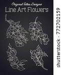 vector line art flowers tattoo... | Shutterstock .eps vector #772702159