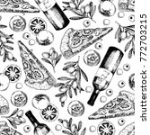 vector hand drawn seamless... | Shutterstock .eps vector #772703215