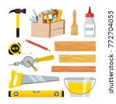 carpentry and woodwork tools... | Shutterstock .eps vector #772704055