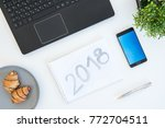high angle shot of items on a... | Shutterstock . vector #772704511