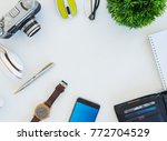 high angle shot of items on a... | Shutterstock . vector #772704529