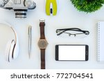high angle shot of items on a... | Shutterstock . vector #772704541