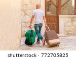bald man with bags and a... | Shutterstock . vector #772705825