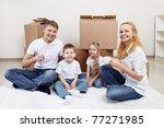 families with children drinking ... | Shutterstock . vector #77271985