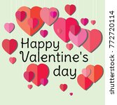 valentine's day. paper hearts.... | Shutterstock .eps vector #772720114