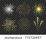 colorful firework set bursting... | Shutterstock .eps vector #772720957