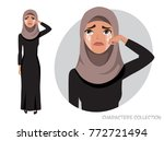 arab woman crying | Shutterstock .eps vector #772721494