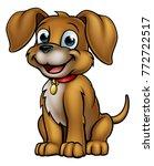 friendly cartoon dog mascot... | Shutterstock . vector #772722517