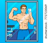 body builder guy is making... | Shutterstock .eps vector #772723069