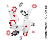 falling casino chips and aces... | Shutterstock .eps vector #772725181
