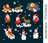 baby in hands of santa claus... | Shutterstock .eps vector #772725415