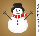 snowman isolated on golden... | Shutterstock .eps vector #772725604