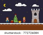 pixel art 8 bit game scene. new ... | Shutterstock .eps vector #772726084