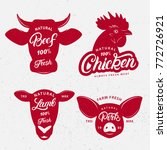 set of butchery logo  label ... | Shutterstock .eps vector #772726921
