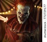 frightening evil looking clown... | Shutterstock . vector #772729177
