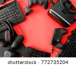 gamer workspace concept  top... | Shutterstock . vector #772735204