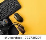 gamer workspace concept  top... | Shutterstock . vector #772735207