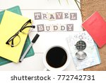 travel concept.book passport... | Shutterstock . vector #772742731