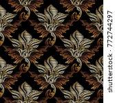 gold vector embroidery baroque... | Shutterstock .eps vector #772744297