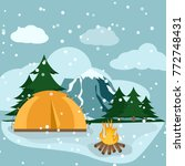camping winter hiking adventure ... | Shutterstock .eps vector #772748431