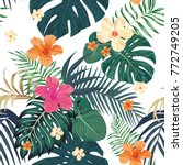 exotic tropical leaves monstera ... | Shutterstock .eps vector #772749205