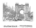 sketch of arc de triomf ... | Shutterstock .eps vector #772755901