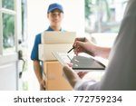 delivery  mail  people and... | Shutterstock . vector #772759234