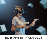 visual reality concept.young... | Shutterstock . vector #772760125