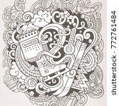cartoon vector doodles winter... | Shutterstock .eps vector #772761484