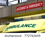roof of ambulance parked... | Shutterstock . vector #772762645