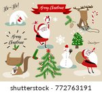 christmas vector decoration set | Shutterstock .eps vector #772763191
