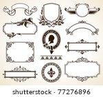 vector set of ornate frames and ...   Shutterstock .eps vector #77276896