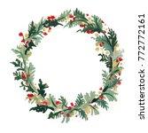 wreath of christmas tree... | Shutterstock . vector #772772161