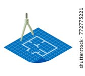 floor plan icon. isometric... | Shutterstock .eps vector #772775221