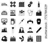 processing plant icons set....