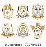 set of vector vintage emblems... | Shutterstock .eps vector #772784395