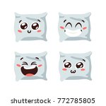 cartoon funny pillows isolated... | Shutterstock .eps vector #772785805