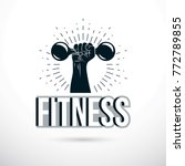 sport logo for weightlifting... | Shutterstock .eps vector #772789855