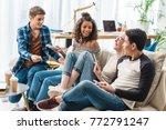 smiling multiethnic teenagers...   Shutterstock . vector #772791247