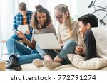happy multicultural teens... | Shutterstock . vector #772791274
