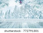 falling snow on forest trees ... | Shutterstock . vector #772791301