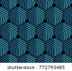 vector seamless hexagon pattern ... | Shutterstock .eps vector #772793485